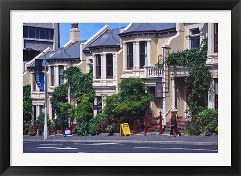 Framed Historic Terrace Houses, Stuart Street, Dunedin, New Zealand Print