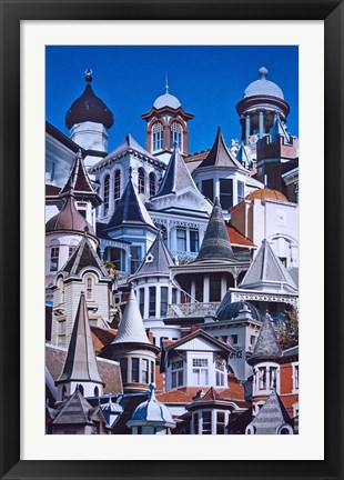 Framed Turret Town, Montage of Turrets from Dunedin's Historical Buildings, New Zealand Print