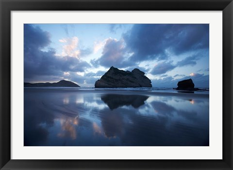 Framed Approaching Storm, Archway Islands, Wharariki Beach, Nelson Region, South Island, New Zealand Print