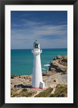 Framed Castle Point Lighthouse, North Island, New Zealand Print