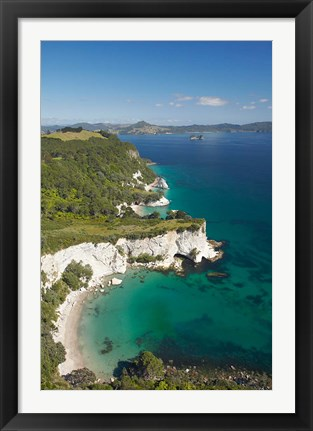 Framed Coastline, Cathedral Cove, North Island, New Zealand Print