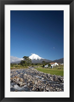Framed Farm, Waiwhakaiho River, North Island, New Zealand Print