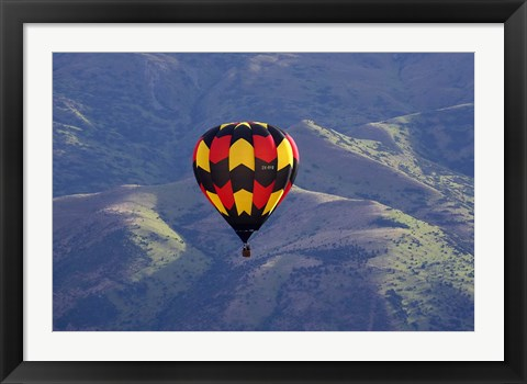 Framed Hot Air Balloon and Mountains, South Island, New Zealand Print