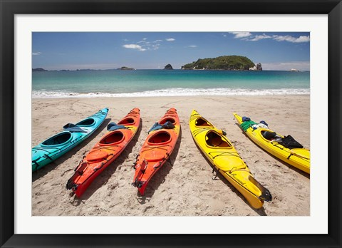 Framed Kayaks on Beach, Hahei, Coromandel Peninsula, North Island, New Zealand Print