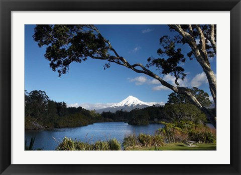 Framed Lake Mangamahoe, Mt Taranaki, North Island, New Zealand Print