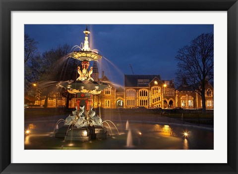 Framed New Zealand, Canterbury, Christchurch, Peacock Fountain Print