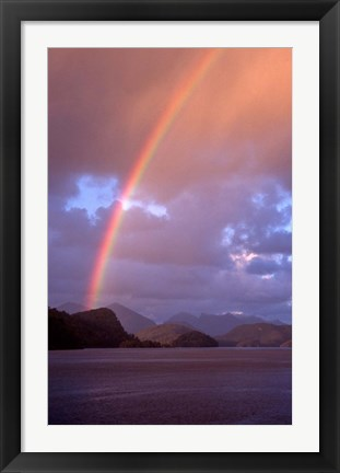 Framed New Zealand, Cascade Cove, Fiordland NP, Rainbow Print
