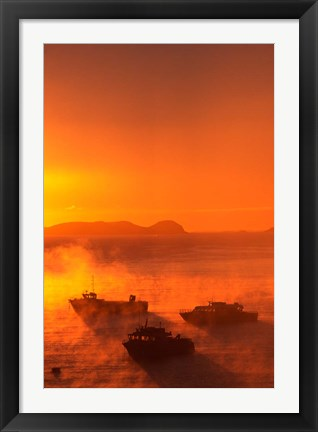 Framed New Zealand, Fishing Boats at sunrise, Stewart Island Print