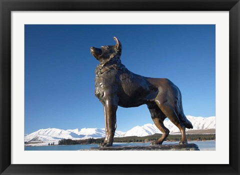 Framed New Zealand, South Island, Lake Tekapo, Sheep Dog Statue Print