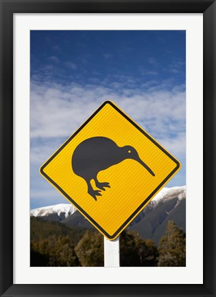 Framed New Zealand, South Island, Road Sign, St Arnaud Range Print