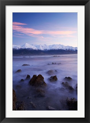 Framed New Zealand, South Island, Seaward Kaikoura Range, Waves Print