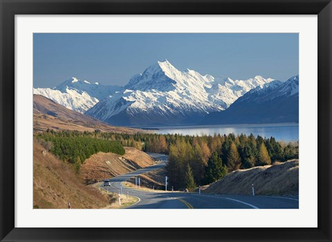 Framed Road to Aoraki Mount Cook, Mackenzie Country, South Canterbury, South Island, New Zealand Print