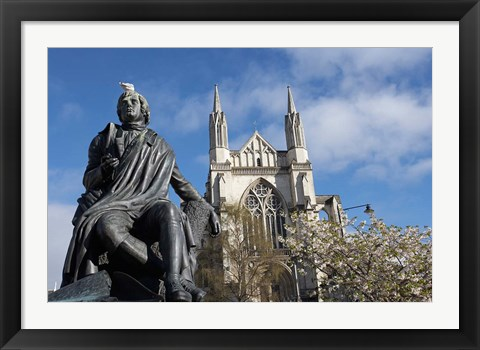 Framed Robert Burns Statue, and St Paul's Cathedral, Octagon, Dunedin, South Island, New Zealand Print