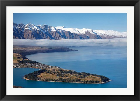 Framed Remarkables, Lake Wakatipu, and Queenstown, South Island, New Zealand Print