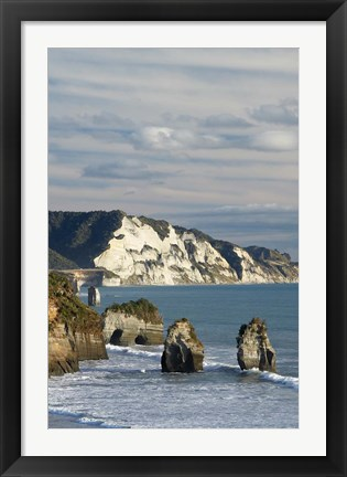 Framed Three Sisters, White Cliffs, North Island, New Zealand Print