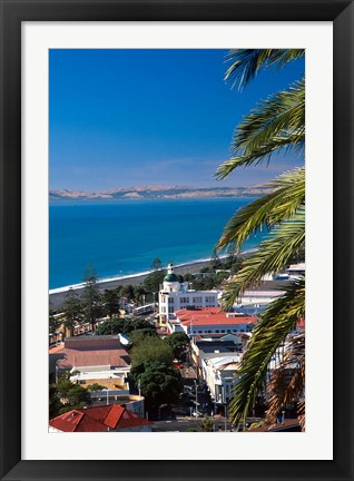 Framed View of Hawke's Bay, Napier, New Zealand Print