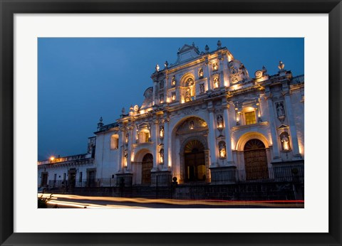 Framed Cathedral in Square, Antigua, Guatemala Print