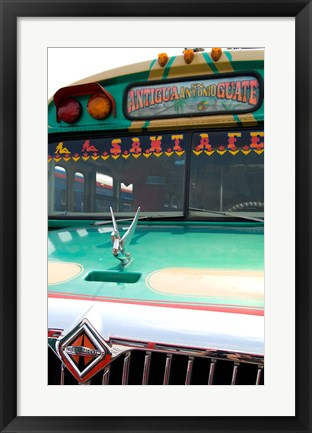 Framed Decorated Bus, Antigua, Guatemala Print