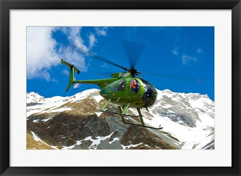 Framed New Zealand, Arrowsmith Range, Helicopter Print