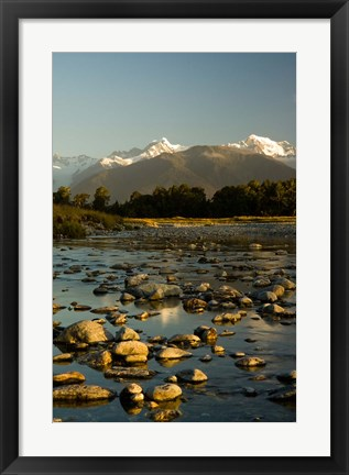 Framed New Zealand, Mt Tasman, Mt Cook, Clearwater River Print