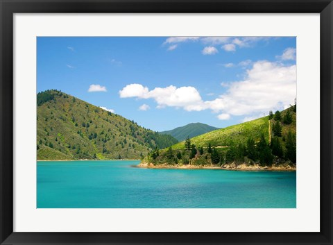 Framed New Zealand, Cook Straight, Picton harbor Print