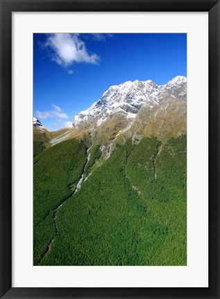 Framed New Zealand, Milford Sound, Majestic fjords, waterfalls Print