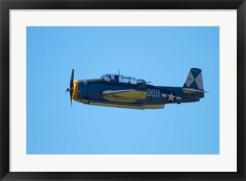 Framed Grumman Avenger, Warbirds over Wanaka, War plane, New Zealand Print
