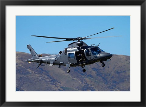 Framed RNZAF Augustawestland A109 helicopter, Warbirds over Wanaka, warplane, New Zealand Print