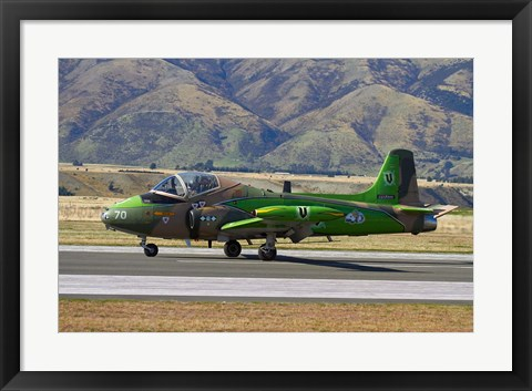 Framed Strikemaster jet, Warbirds over Wanaka, War plane, South Island, New Zealand Print