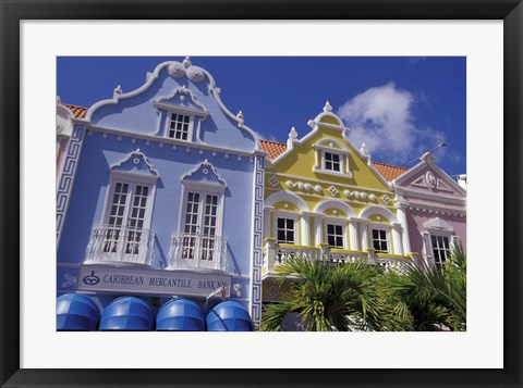 Framed Dutch Gabled Architecture, Oranjestad, Aruba, Caribbean Print