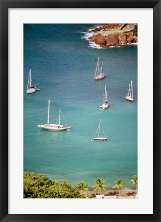 Framed Yachts Anchor in British Harbor, Antigua, Caribbean Print