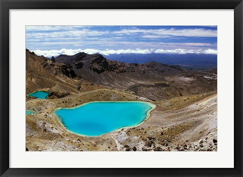 Framed New Zealand, Tongariro NP, Mountain, Emerald Lakes Print