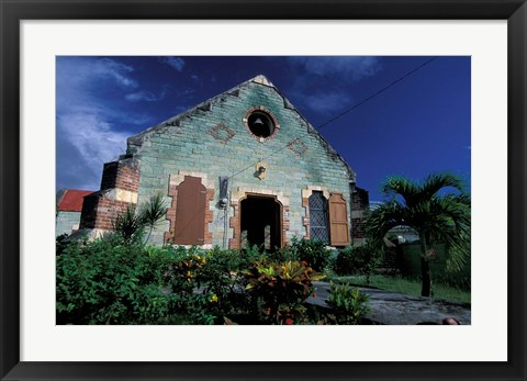 Framed Village Church, Antigua, Caribbean Print
