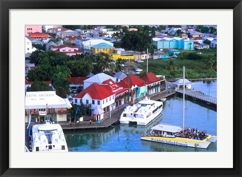 Framed Aerial View, St John, Antigua Print