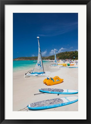 Framed Antigua, Dickenson Bay, beach, sailboats Print