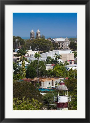 Framed Antigua, St Johns, elevated city view Print