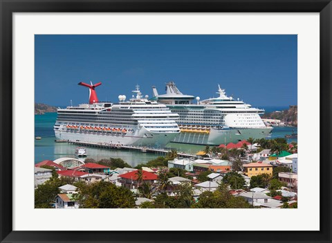 Framed Antigua, St Johns, Heritage Quay, Cruise ship area Print