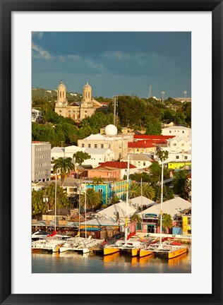 Framed Cathedral, harbor, St Johns, Antigua, West Indies Print