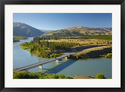 Framed Bannockburn Bridge and Kawarau Arm, Lake Dunstan, South Island, New Zealand Print