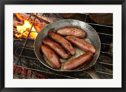 Framed Cuisine, Sausages on campfire, South Island, New Zealand Print