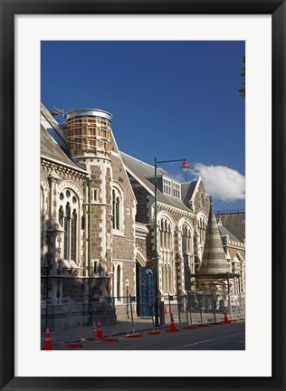 Framed Earthquake damaged Arts Centre, Christchurch, Canterbury, South Island, New Zealand Print