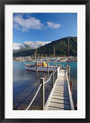 Framed Jetty, Queenstown Bay, Queenstown, South Island, New Zealand Print
