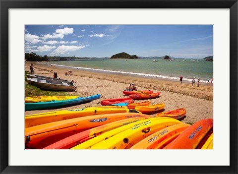 Framed Kayaks on beach, Paihia, Bay of Islands, Northland, North Island, New Zealand Print