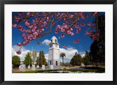 Framed Memorial Clock Tower, Seymour Square, Marlborough, South Island, New Zealand (horizontal) Print