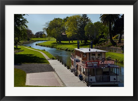 Framed River Queen Paddle Steamer, Taylor River, New Zealand Print