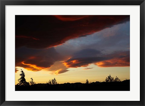 Framed Spectacular sunset over Mossburn, Southland, South Island, New Zealand Print