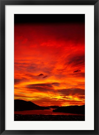 Framed Sunrise, Otago Harbor, Dunedin, New Zealand Print