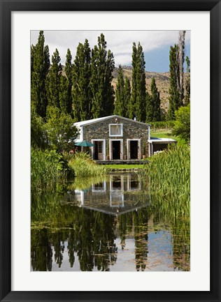 Framed shed and pond, Northburn Vineyard, Central Otago, South Island, New Zealand Print