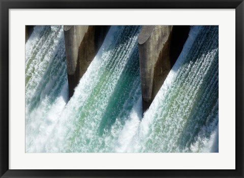 Framed Water from Clyde Dam, Otago, South Island, New Zealand Print