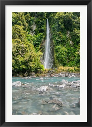 Framed New Zealand, South Island, Haast Pass, Thunder Creek Falls Print